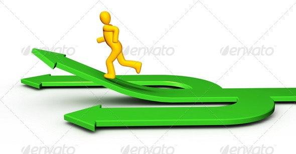 Man Running on 3 Arrow - Characters 3D Renders