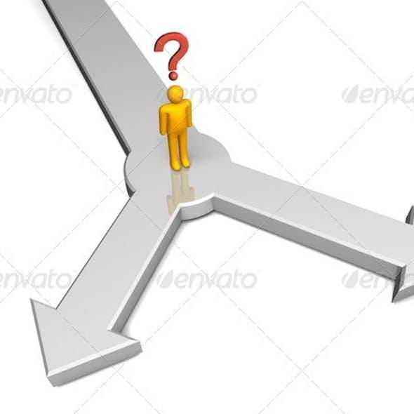 Man Choosing Between 2 Way