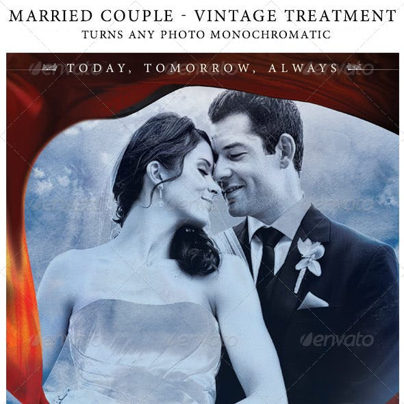 "Vintage ""Just Married"" Photo Treatment Template"