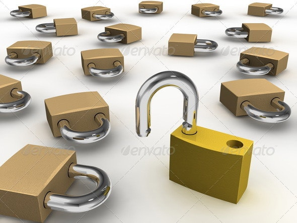 One Padlock Opened Among Many - Objects 3D Renders