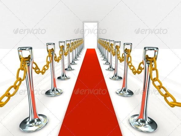 Red Carpet to Open Door - Objects 3D Renders