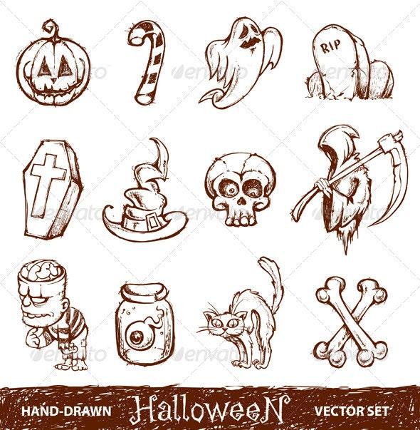 Vector set of cute hand-drawn halloween elements - Characters Vectors