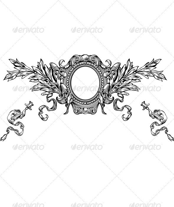 One Color Ornate Heraldry Frame And Stripes - Retro Technology