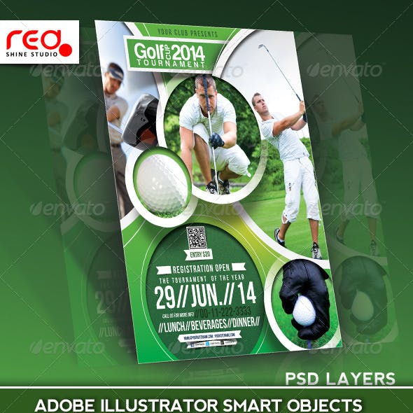 Golf Tournament Flyer Poster Magazine Template
