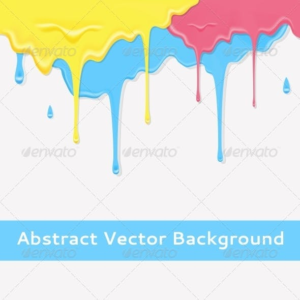 Paint Colorful Dripping Background in Three Color