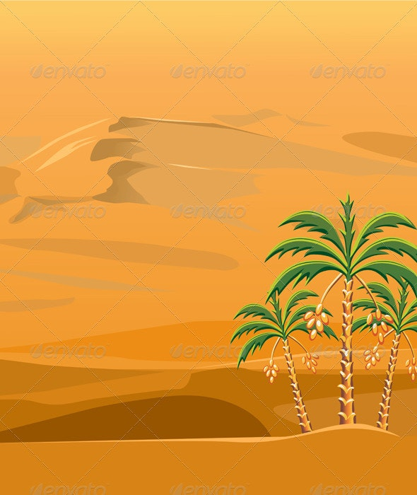 Vector of a desert landscape with the palm trees - Landscapes Nature