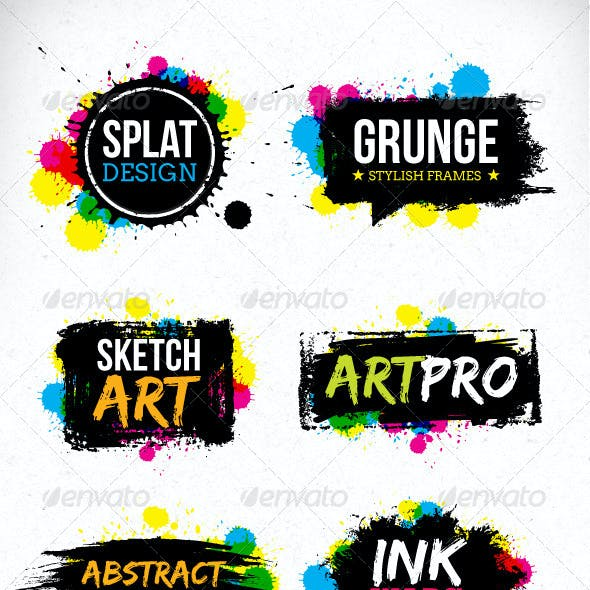 Grunge Blot Brush Vector Design Elements
