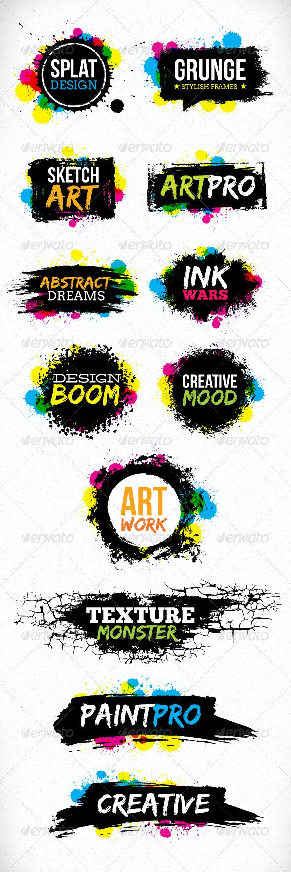Grunge Blot Brush Vector Design Elements - Backgrounds Decorative