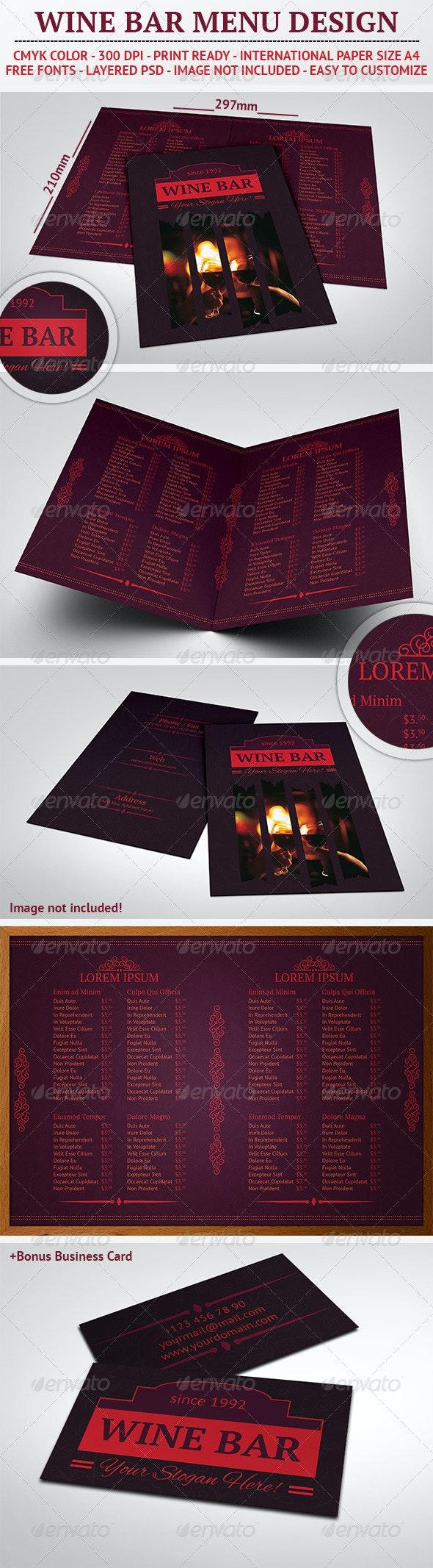 Wine Bar Menu Design - Food Menus Print Templates