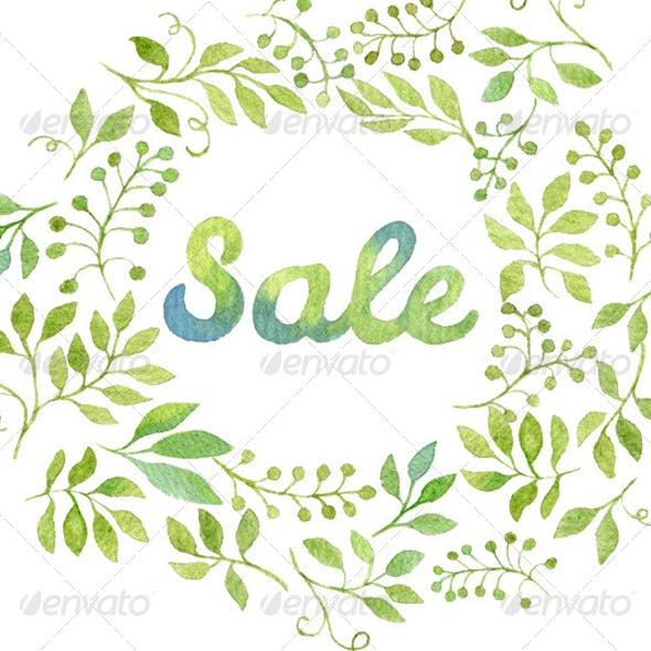 Watercolor Leaves Wreath with the word SALE