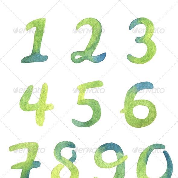 Hand-drawn watercolor numbers