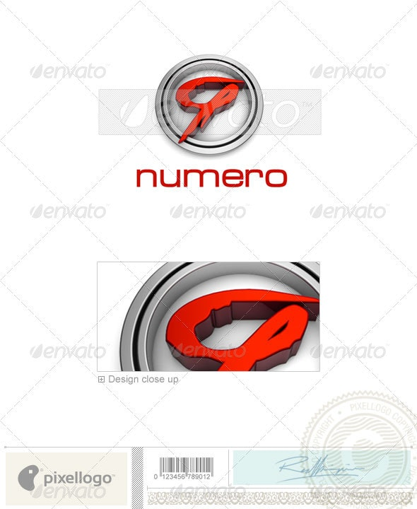 Numbers Logo - 3D-61 - Numbers Logo Templates