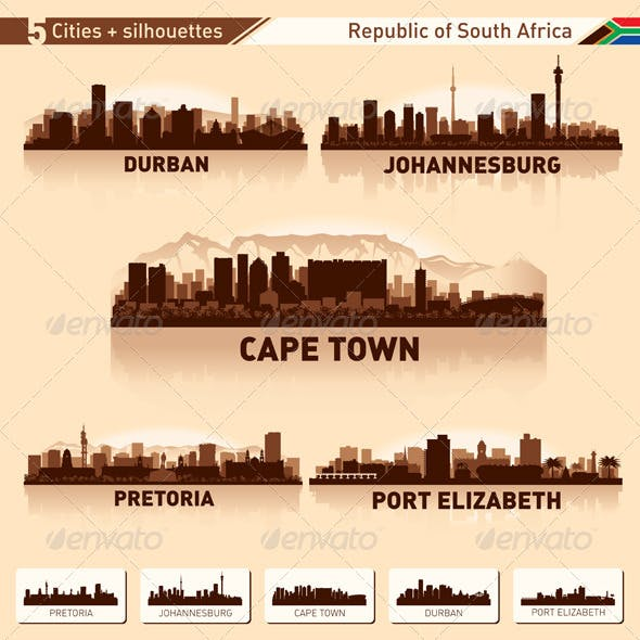 City Skyline Set South Africa Vector Silhouettes