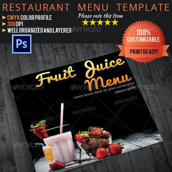 Bi-fold Square Fruit Juice Menu Template