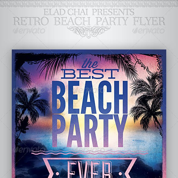 Retro Typography Summer Beach Party Flyer Template