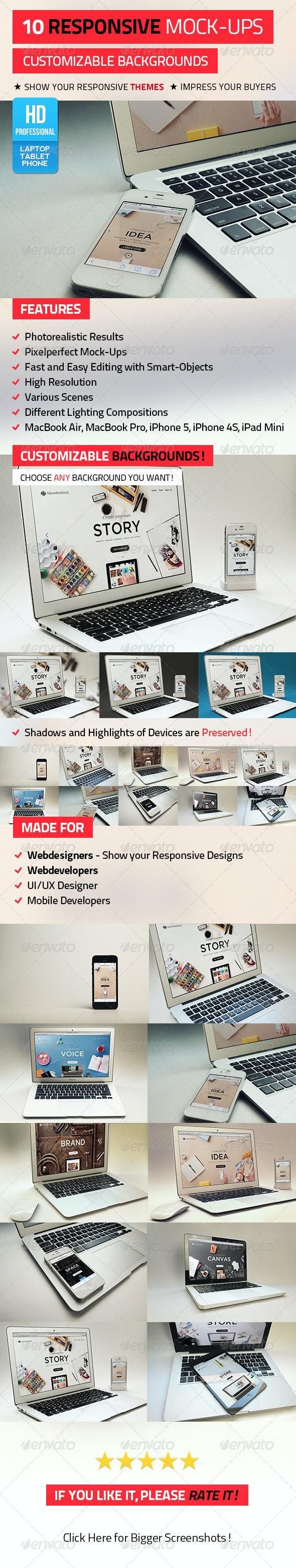 10 Responsive Mock-Ups - Displays Product Mock-Ups