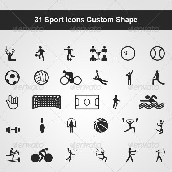 31 Sport Icons Custom Shape