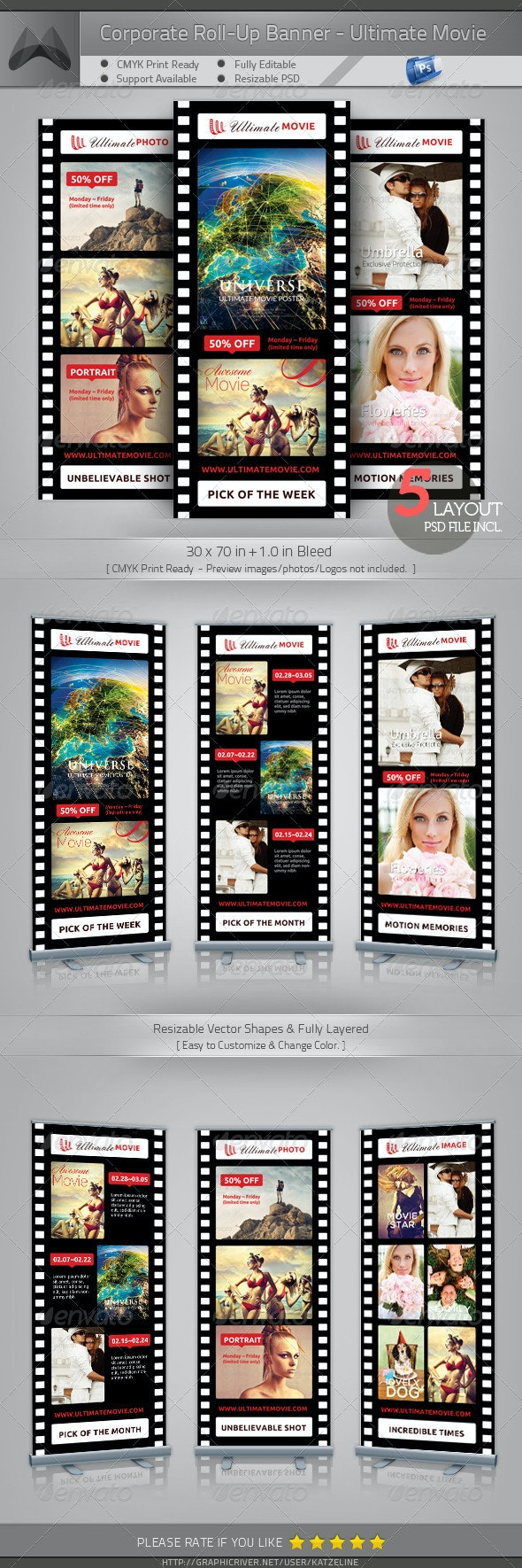 Ultimate Movie and Photography- Roll-Up Banner - Signage Print Templates