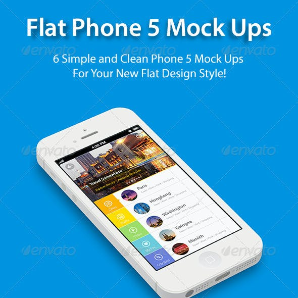 Flat Phone 5 Mock Up