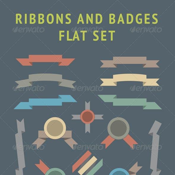Flat Ribbons and Badges Set
