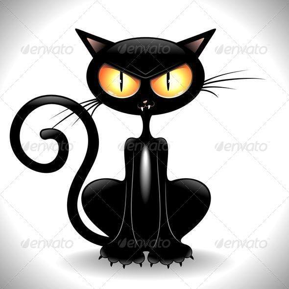 Angry Black Cat Cartoon