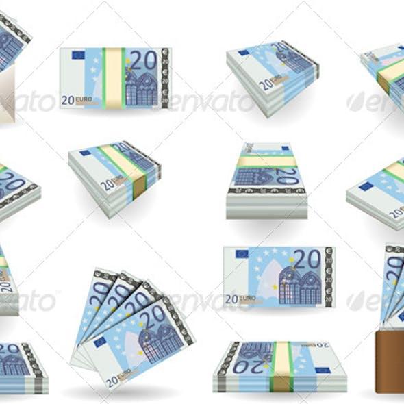 Full Set of Twenty Euros Banknotes