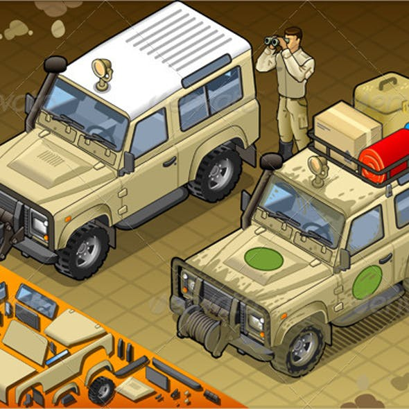 Isometric Safari Jeep with Guide in Front View