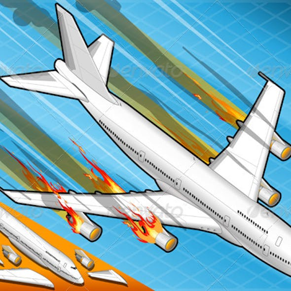 Isometric Airplane Falling Down with Fired Engines