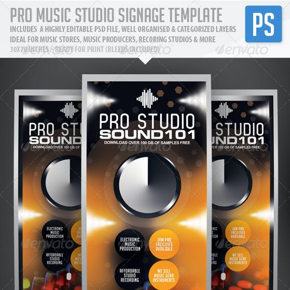 Pro Music Studio Music Expo Signage Template
