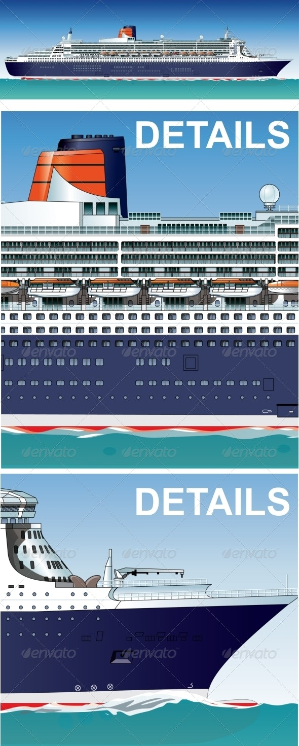 Vector Hi-Detailed Cruise Ship - Travel Conceptual