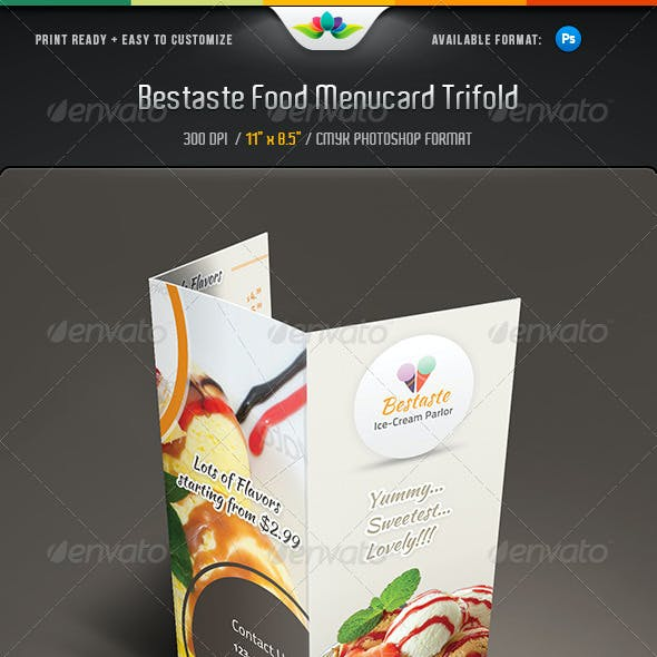 Bestaste Food Menu Trifold Brochure