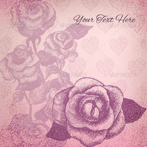 Vector Card with Vintage Roses