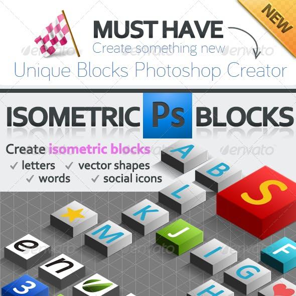 3D Isometric Blocks Photoshop Creator