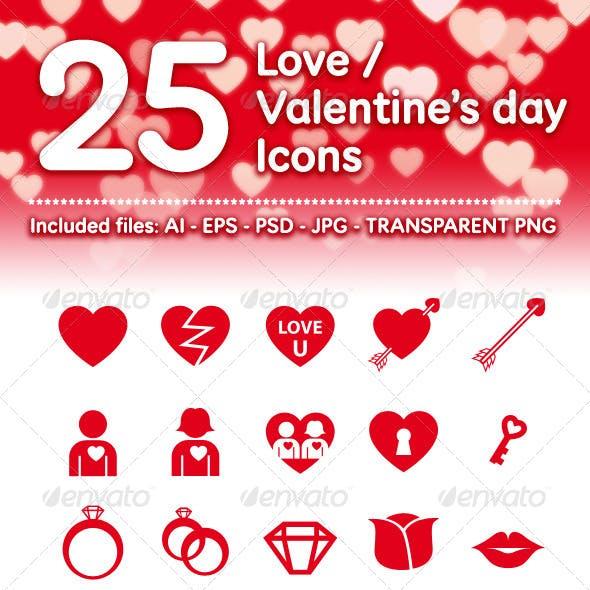 25 Love / Valentine's Day Icons