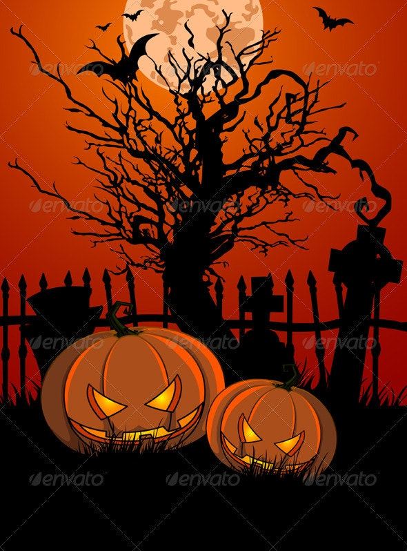 Halloween Illustration with Tombstone and Pumpkins - Halloween Seasons/Holidays