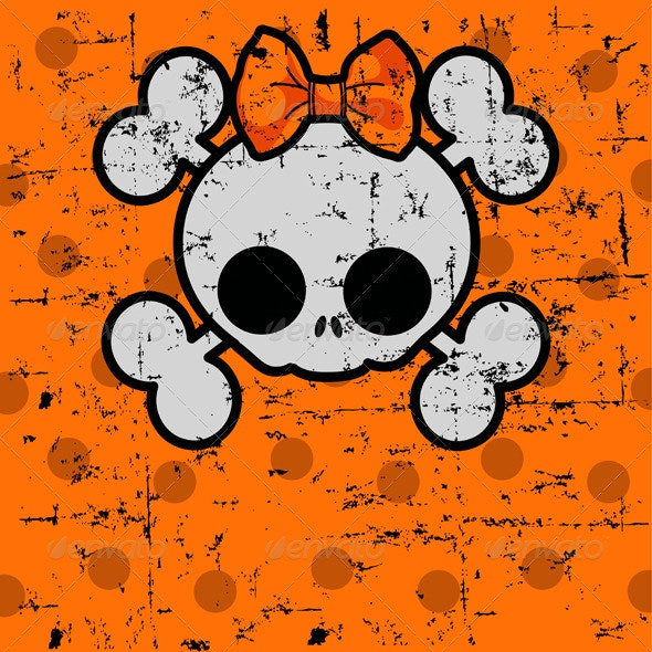 Halloween Skull with bow - Halloween Seasons/Holidays