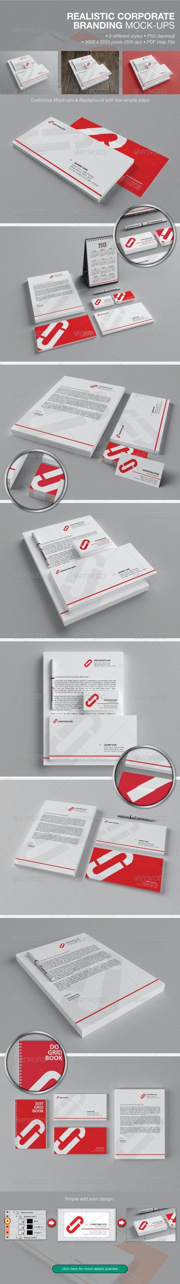 Realistic Corporate Branding Mock-ups - Product Mock-Ups Graphics