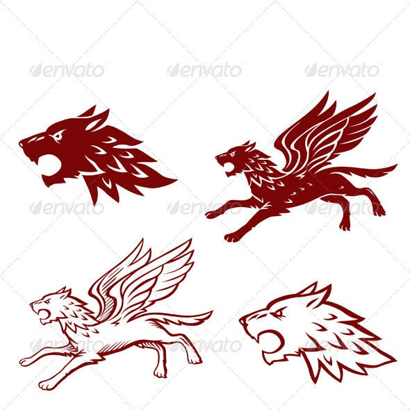 Winged Wolf Illustration