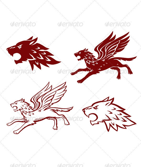 Winged Wolf Illustration - Animals Characters