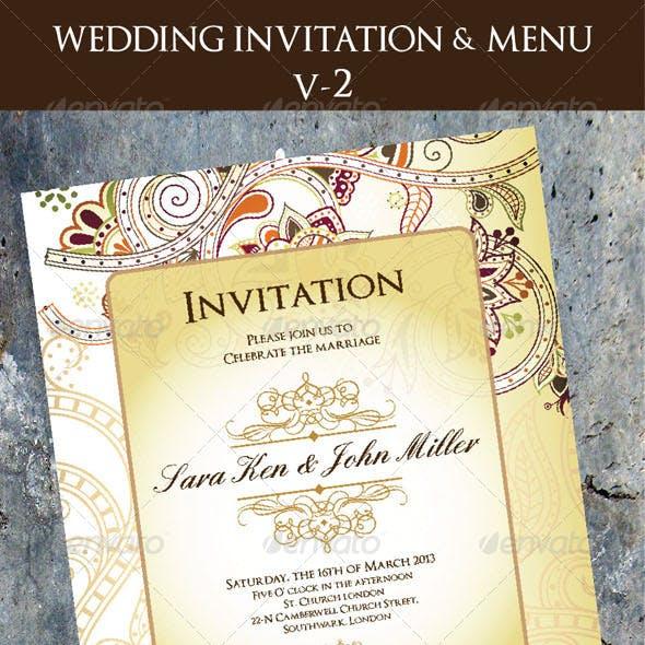 Wedding Invitation & Menu Cards V-2