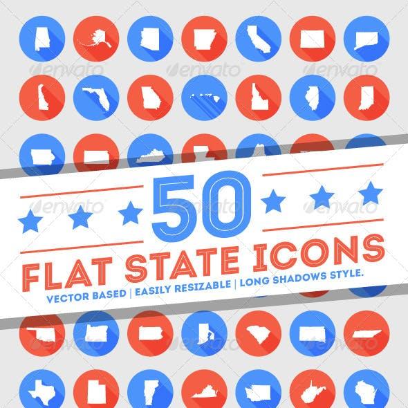 50 Flat U.S. State Icons