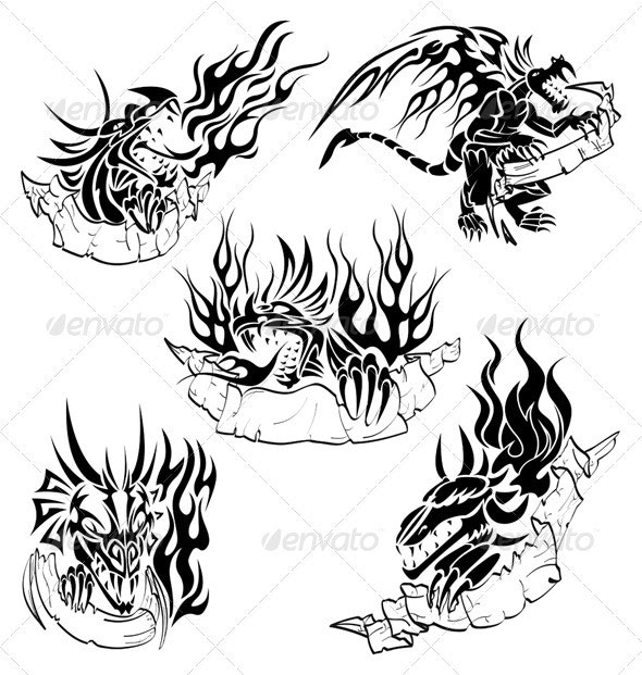 Tribal dragons with labels - Monsters Characters