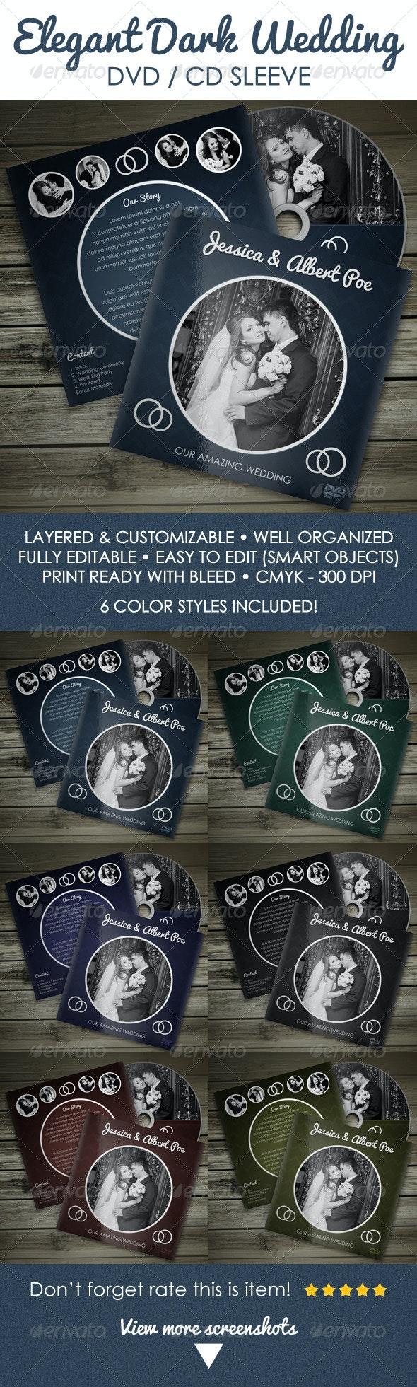 Elegant Dark Wedding DVD / CD Sleeve - Packaging Print Templates