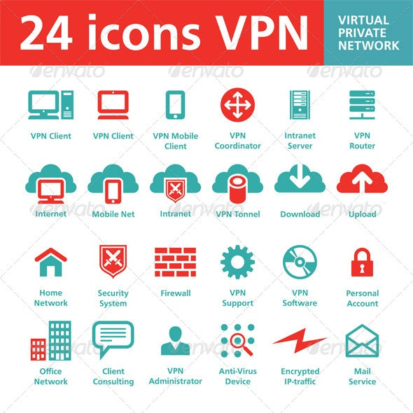 24 icons VPN (Virtual Private Network)