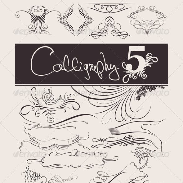 Calligraphic design elements and page