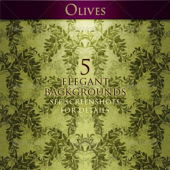 Olives. 5 Elegant Backgrounds