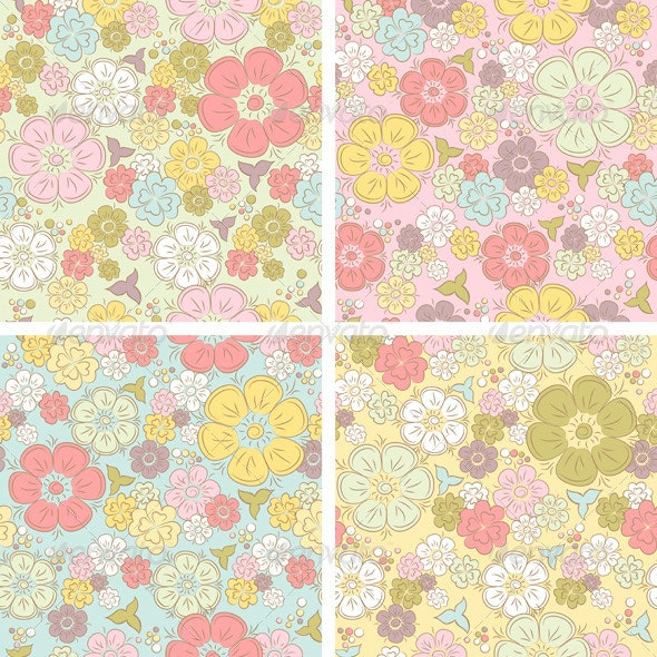 Pastel Seamless Floral Pattern - Patterns Decorative