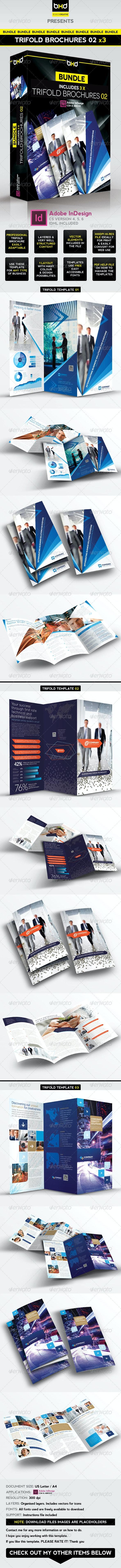 Trifold Brochures Bundle - InDesign Layout 02 - Corporate Brochures