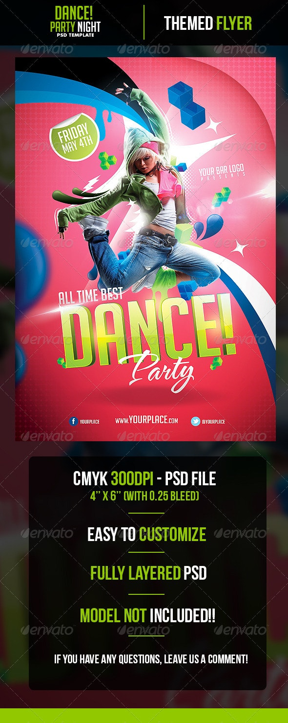 Dance Party Flyer Template - Clubs & Parties Events