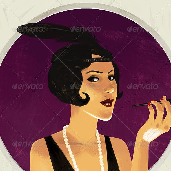 20s style young girl portrait
